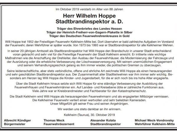 Trauer um Willi Hoppe
