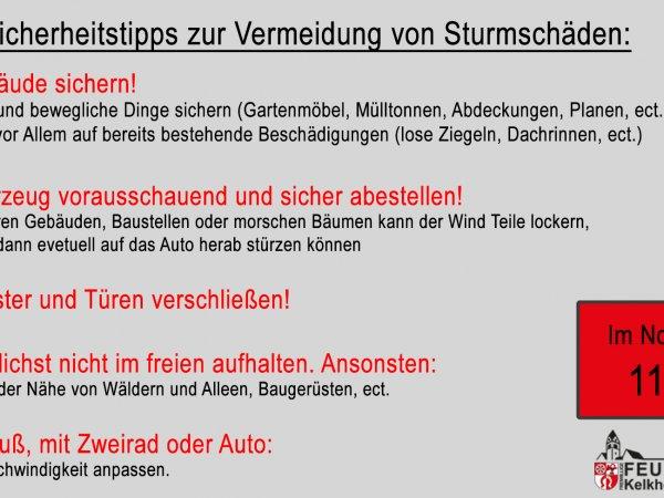 Hinweise Sturmtief 09.02.2020